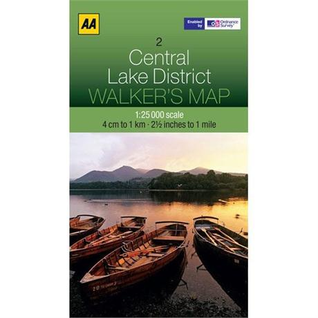 AA Walkers Map 02 Central Lake District 1:25,000 LAMINATED