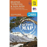 OS Explorer ACTIVE Map OL58 Braemar, Tomintoul & Glen Avon