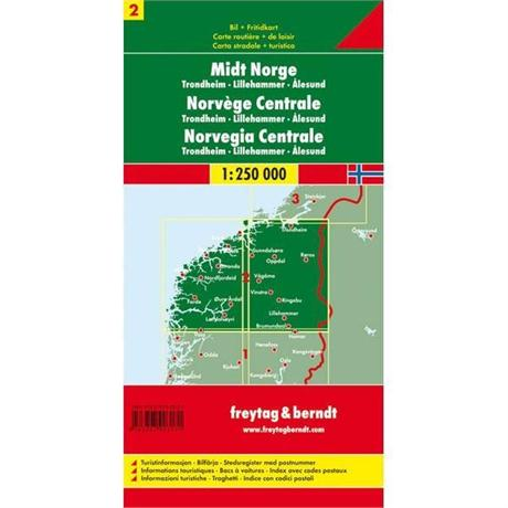 Norway Map: Central incl. Trondheim 1:250 000