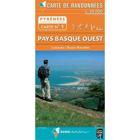 France IGN Map Pyrenees Pays Basque Ouest