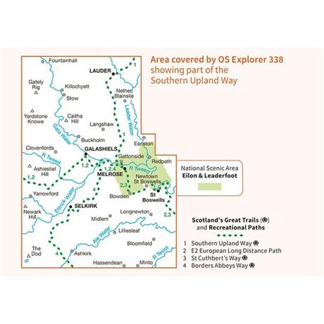OS Explorer Map 338 Galashiels, Selkirk and Melrose