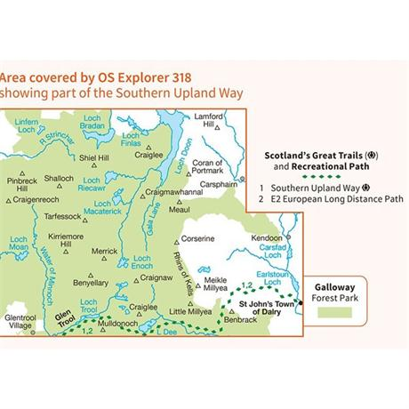 OS Explorer Map 318 Galloway Forest Park North