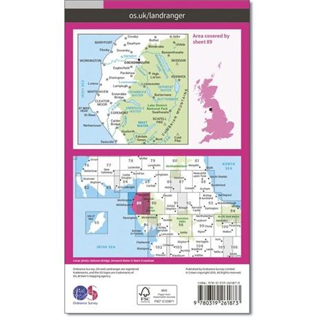 OS Landranger ACTIVE Map 89 West Cumbria, Cockermouth & Wast Water