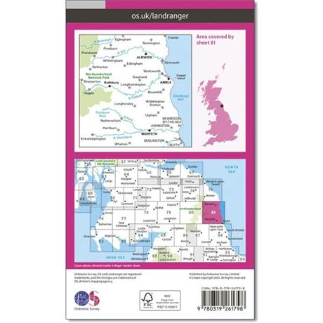 OS Landranger Map 81 Alnwick & Morpeth, Rothbury & Amble