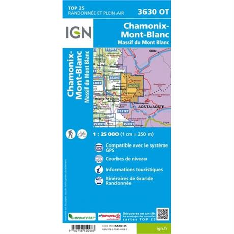 France IGN Map Chamonix - Massif du Mont Blanc 3630 OT 1:25,000