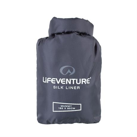 LifeVenture Silk Sleeping Bag Liner Mummy shape Grey