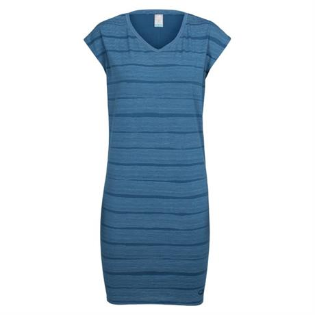 Icebreaker Dress Women's Yanni Tee Dress Combed Lines Prussian Blue