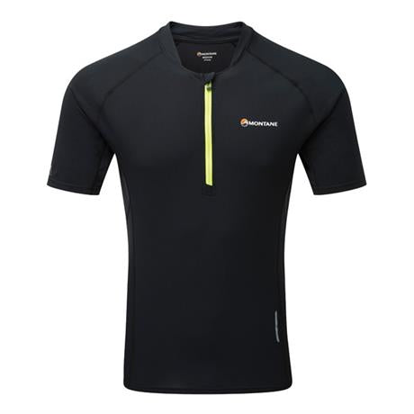 Montane Top Men's Fang Zip T-Shirt Black/Laser Green