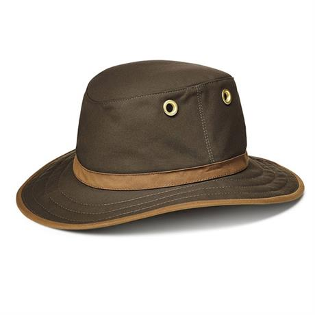 Tilley Hat Outback Waxed Cotton Medium Brim Olive/Tan