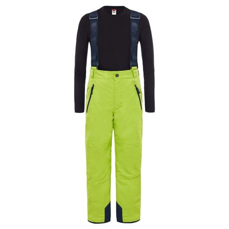 North Face SKI Pants Youth's Snowquest Suspender Plus Lime Green