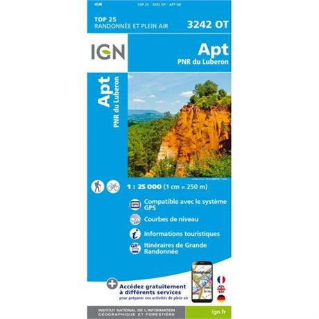 France IGN Map: Apt Parc Naturel Regional Du Luberon 3242 OT