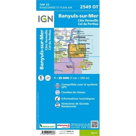 France IGN Map: Banyuls Col de Perthus 2549 OT 1:25,000