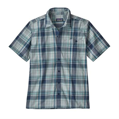 Patagonia Shirt Men's Puckerware SS Canopy Plaid:Stone Blue