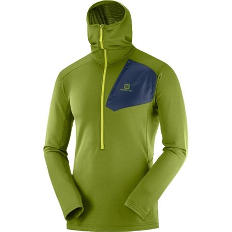 Salomon FLEECE Top Men's Grid HZ Mid Hoodie AvocadoNight Sky
