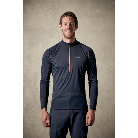 Rab BASE LAYER Top Men's Pulse LS Zip Ebony