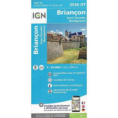 France IGN Map Briancon 3536 OT