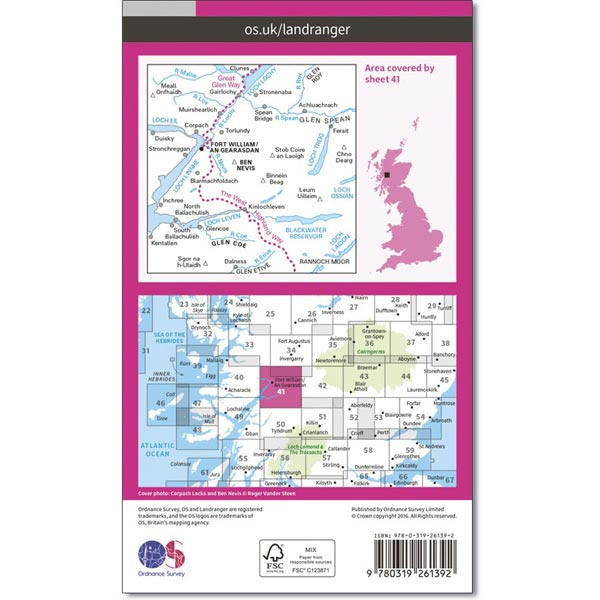 OS Landranger Map 41 Ben Nevis, Fort William & Glen Coe