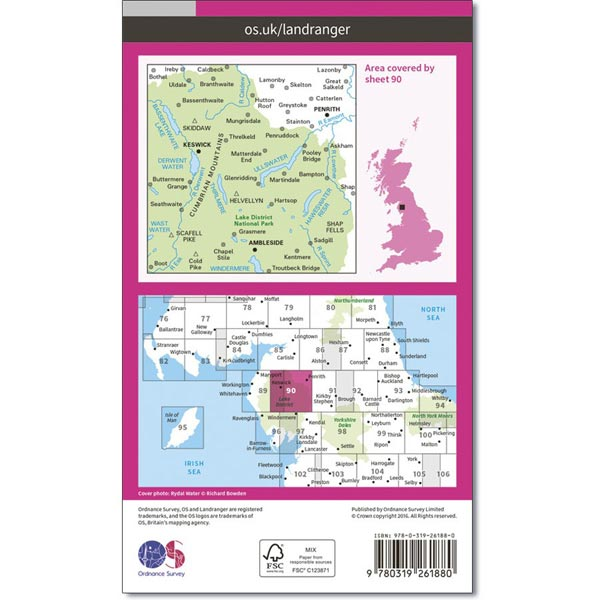 OS Landranger Map 90 Penrith & Keswick, Ambleside