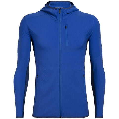 Icebreaker Men's Descender Long Sleeve Zip Hood- Lapis/Estate Blue