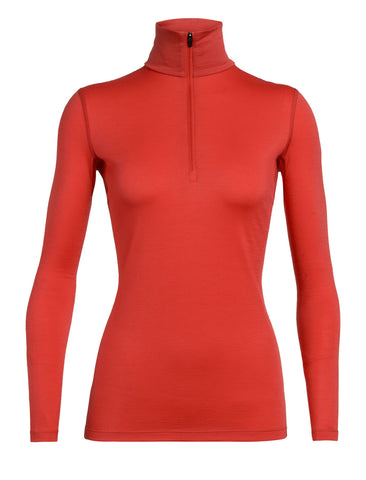 Icebreaker Women's 200 Oasis Long Sleeve Half Zip- Fire
