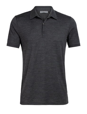 Icebreaker Men's Tech Lite Short Sleeve Polo- Jet Heather