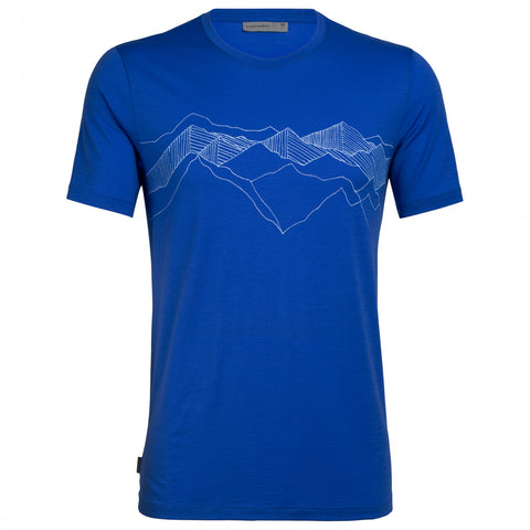 Icebreaker Men's Tech Lite Short Sleeve Crewe - Artist- Peak Patterns- Lapis