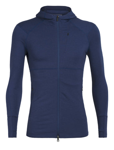 Icebreaker Men's Quantum II Long Sleeve Zip Hood- Estate Blue