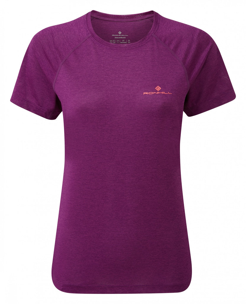 Ron Hill Women's Stride Short Sleeve Tee- Grape Juice Marl
