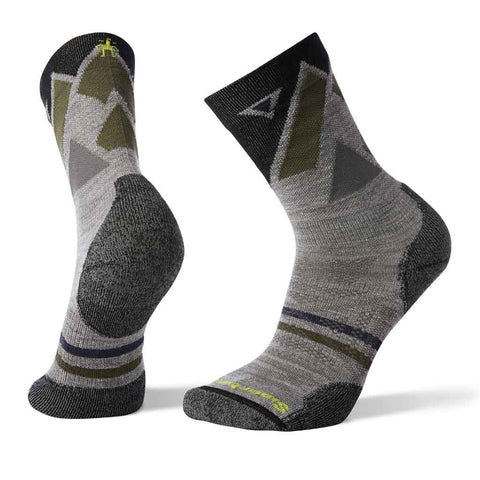 Smartwool HIKING Socks Men's PhD Outdoor Light Pattern Crew Light Grey