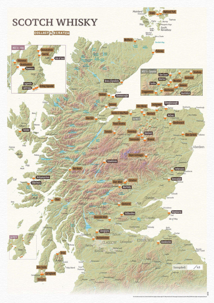 Cordee Whisky Distillery Scratch Map A3