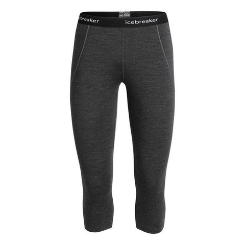 Icebreaker Women's BodyfitZone Merino 260 Zone 3/4 Thermal Leggings - 2020 - Jet Heather Black