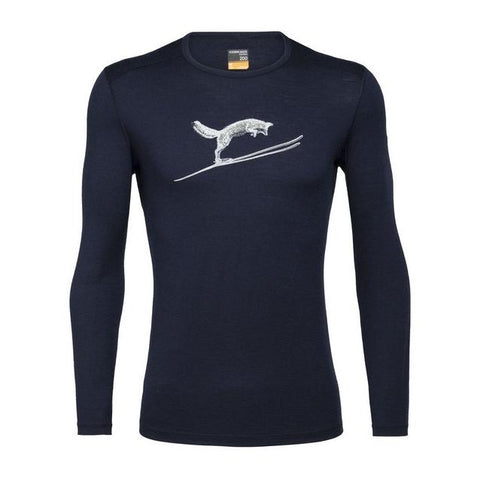 Icebreaker Men's Merino 200 Oasis Long Sleeve Crewe Thermal Top Fox Jump - Midnight Navy