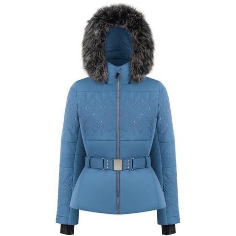 Poivre Blanc Women's Stretch Belted Ski Jacket - Twilight Blue