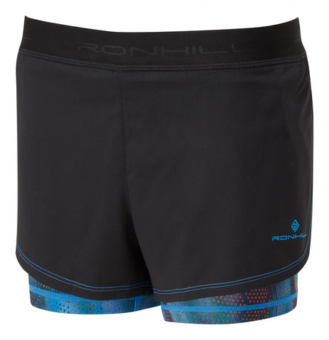 Ron Hill Women's Momentum Twin Short- Black/ Sky Blue