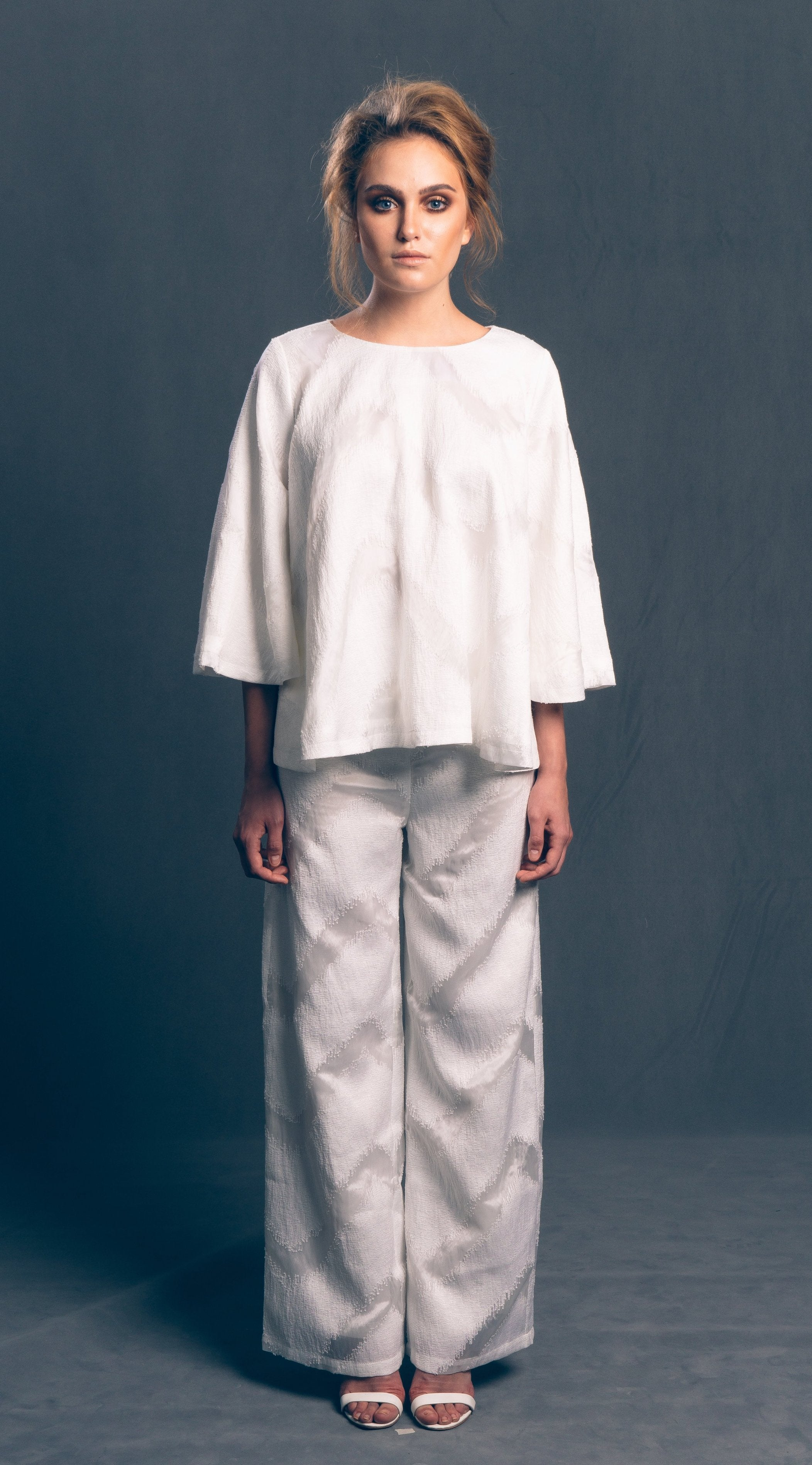 Woven Wide-Leg Pants in White