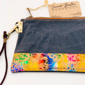 Tiffany Clutch Bag, Charcoal Wax Canvas with Unicorn Cork