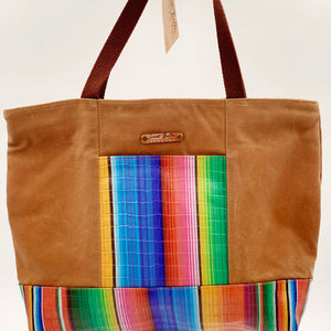 Sale- Large Chrystee Tote Made From Tan Wax Canvas And Serape Leather