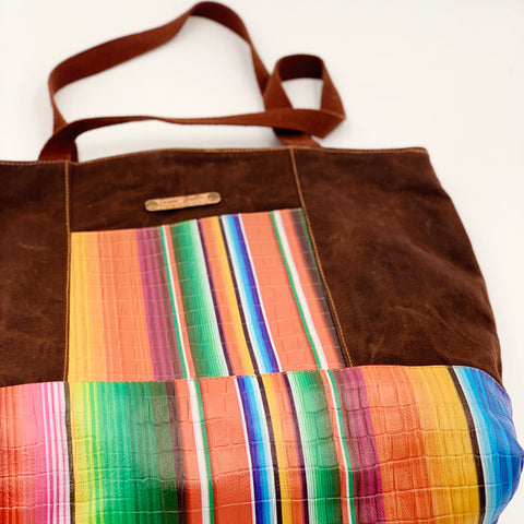 Sale- Large Chrystee Tote Made From Chocolate Wax Canvas And Serape Leather