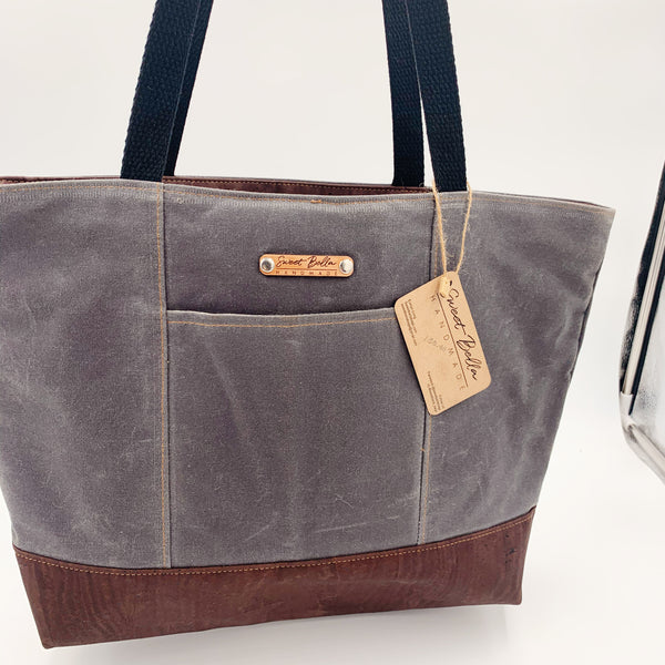 Sale- Large Chrystee Tote Made From Charcoal Wax Canvas And Chocolate Cork