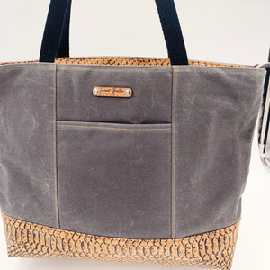 Sale- Large Chrystee Tote Made From Charcoal Wax Canvas and Snake Cork