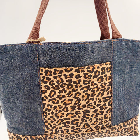 Small Chrystee Tote Made With Denim Wax Canvas and Cheetah Cork