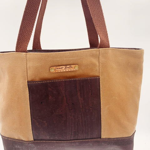 Small Chrystee Tote Made With Tan Wax Canvas and Chocolate  Cork
