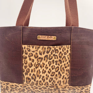 Sale- Small Chrystee Tote Made With Chocolate and Cheetah Cork