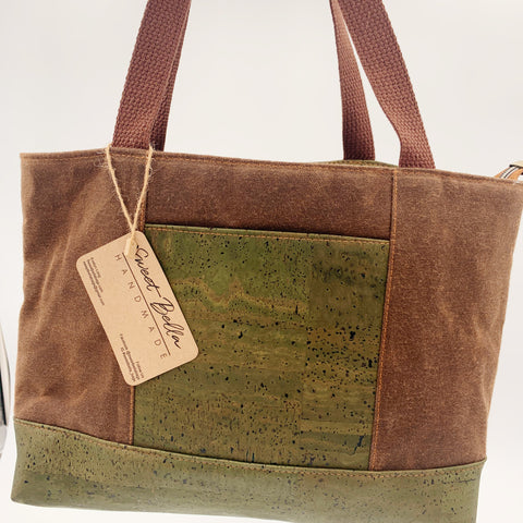 Sale- Small Chrystee Tote Made With Spice Wax Canvas and Olive Green  Cork