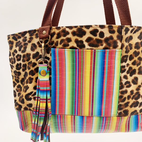 Sale- Small Chrystee Tote Made With Cheetah waxed Canvas and Serape leather