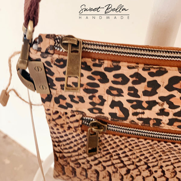 Traisee Crossbody Made With Cheetah and Snake Cork