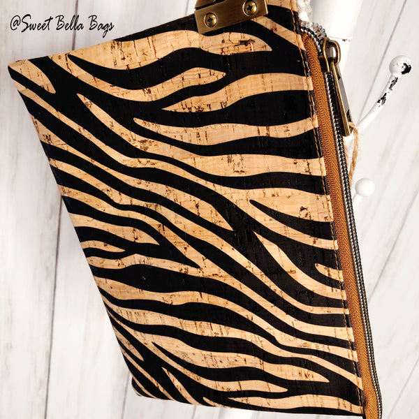 The Tiffany Clutch Bag Made From Zebra Cork