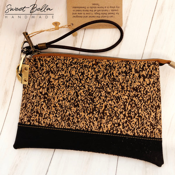 The Tiffany Clutch Bag Made From Black Speckled Cork WIth a Black Cork Accent