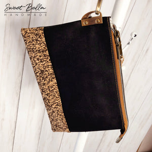 The Tiffany Clutch Bag Made From Black Cork With a Black Speckled Cork Accent