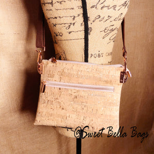 Traisee Crossbody Made  With Natural Cork With Rose Gold Flecks